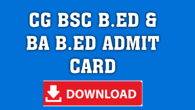 CG Pre B.A B.Ed / Pre B.Sc. B.Ed. 2021 Admit Card - Download Here!